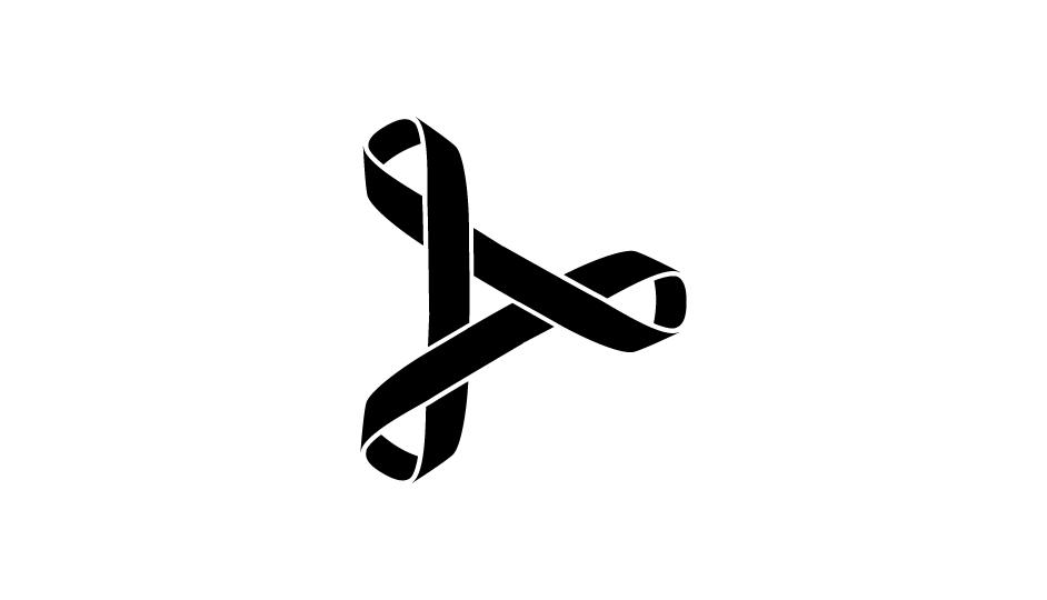 06. Tríada de lazos imbricados en flecha de avance (negro sobre blanco).