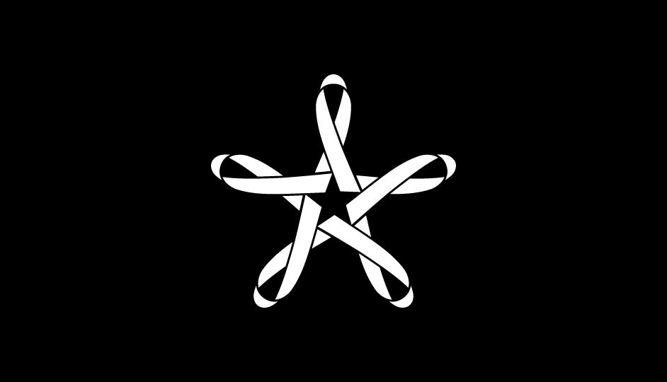 01. Composición con lazos imbricados en estrella de 5 puntas (blanco sobre negro).