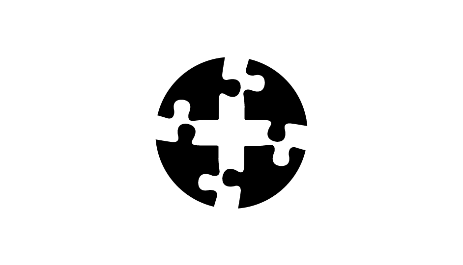 38. Esquema de la cruz médica compuesta sobre la organización de piezas de un rompecabezas (negro sobre blanco).