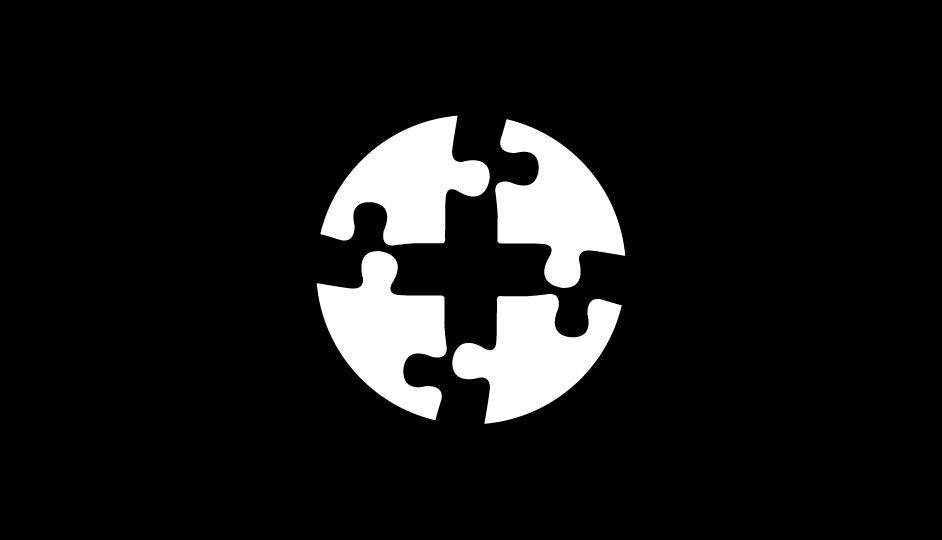 37. Esquema de la cruz médica compuesta sobre la organización de piezas de un rompecabezas (blanco sobre negro).