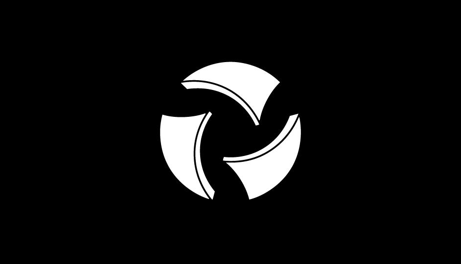 43. Composición abstracta envolvente referencial para simbolizar la idea del hospital de día (blanco sobre negro).