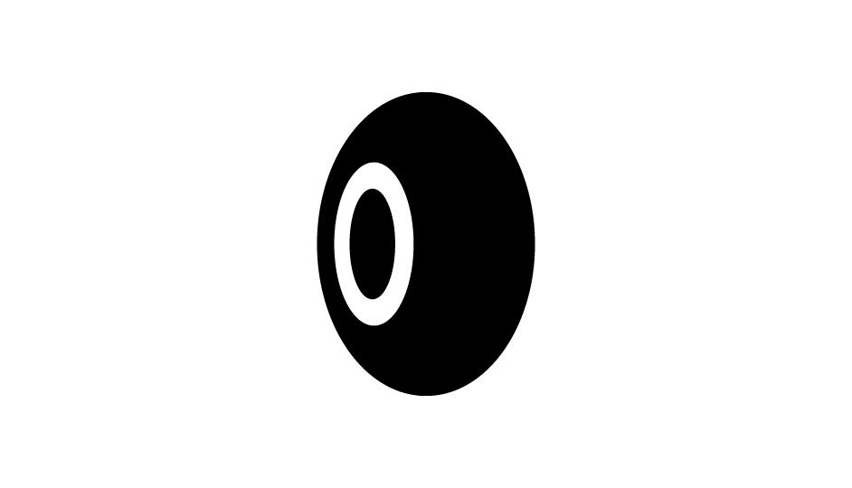 32. Evocación de la tecnología de exploración a través de anillos radiantes en 3D (negro sobre blanco).