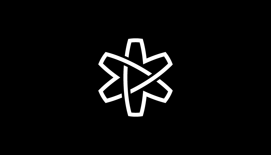 11. Asterisco (flor, átomo, lazos, estrella) en forma de cinta sinfín imbricada  (blanco sobre negro).