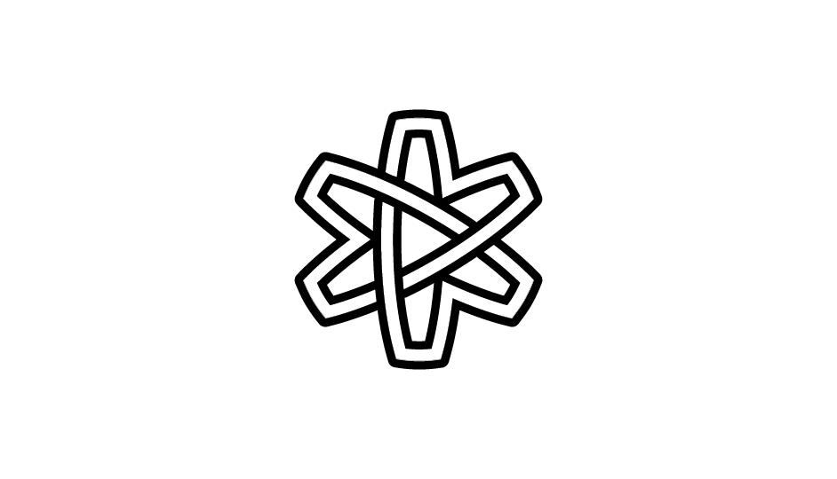 14. Asterisco lineal (flor, átomo, lazos, estrella) en forma de cinta sinfín imbricada (negro sobre blanco).