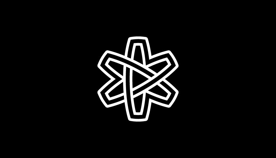 Asterisco lineal (flor, átomo, lazos, estrella) en forma de cinta sinfín imbricada (blanco sobre negro).