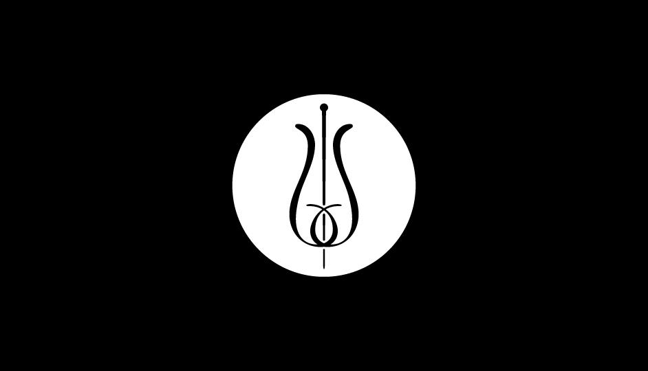 23. Configuración lineal ambivalente de flor y vara de esculapio (negro sobre blanco) en soporte circular.