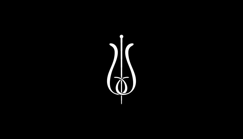 19. Configuración ambivalente de flor y vara de esculapio (blanco sobre negro).