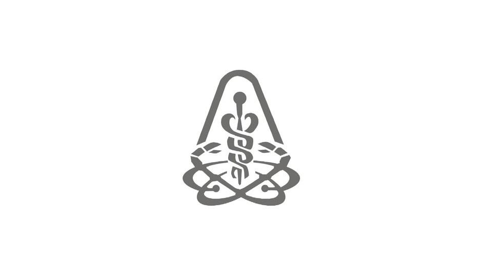 Cancer Institute: isotipo complejo que reúne a la medicina (vara de esculapio y serpientes) con el cáncer (figura del cangrejo).