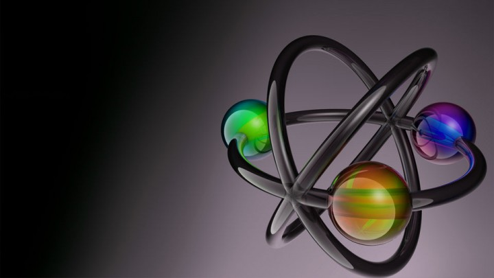 Estereotipo estilizado de la estructura atómica como identificador de laboratorio.