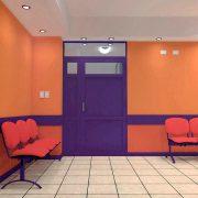 Sala de espera y acceso privado a Neonatología.