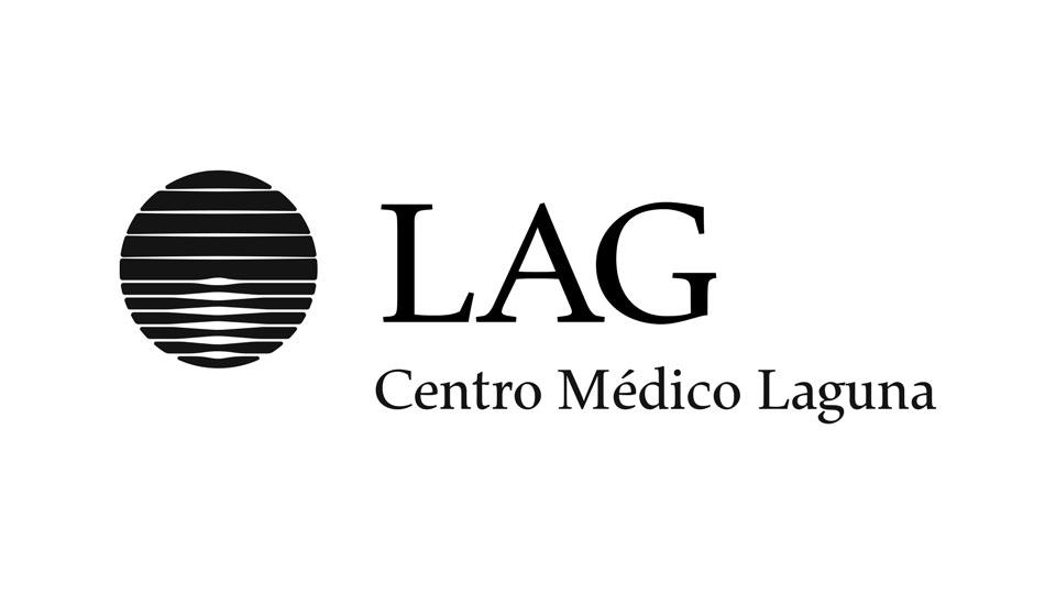 LAG · GSG · Centro Médico Laguna, Santo Tomé: marca en negro sobre blanco.